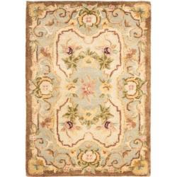 Safavieh Handmade Aubusson Plaisir Ivory/ Light Blue Wool Rug (2' x 3')