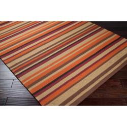 Hand-hooked Multi Colored Striped Davis Rug (9' x 12') - Thumbnail 1