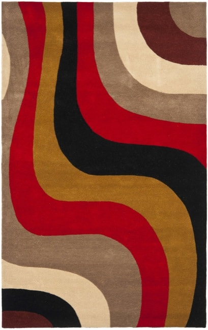 "Safavieh Handmade Rodeo Drive Contemporary Abstract Red/ Grey/ Black Wool Rug - 7'6"" x 9'6"""