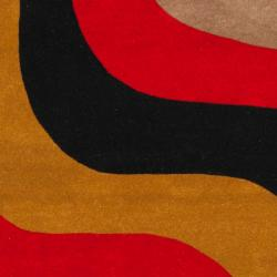 Safavieh Handmade Rodeo Drive Contemporary Abstract Red/ Grey/ Black Wool Rug (3'6 x 5'6)