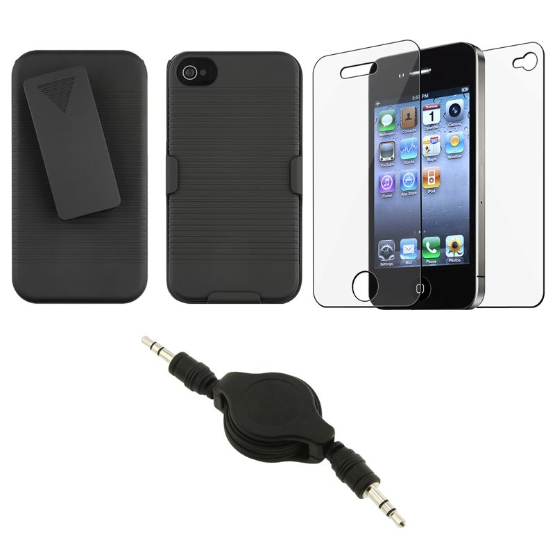 Swivel Holster/ Screen Protector/ Audio Cable for Apple iPhone 4S