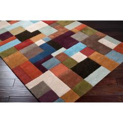 Hand-tufted Contemporary Multi Colored Square Geometric Grays Wool Geometric Rug (8' x 11') - Thumbnail 1