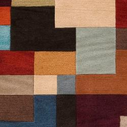 Hand-tufted Contemporary Multi Colored Square Geometric Grays Wool Geometric Rug (8' x 11') - Thumbnail 2
