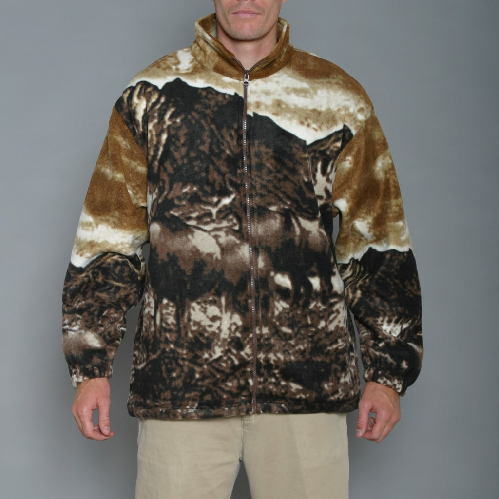 Resort Stop Moose Printed Polar Fleece Jacket - Free Shipping On ...