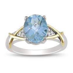 Miadora 10k Yellow Gold and Sterling Silver Blue Topaz and Diamond Accent Ring