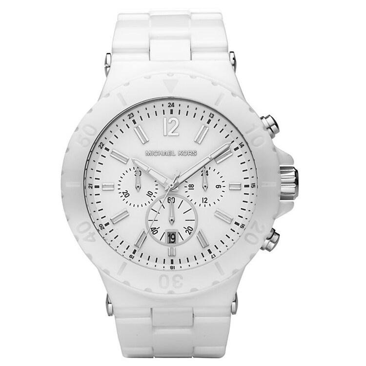 Michael Kors Women's White Chronograph Dial Ceramic Watch