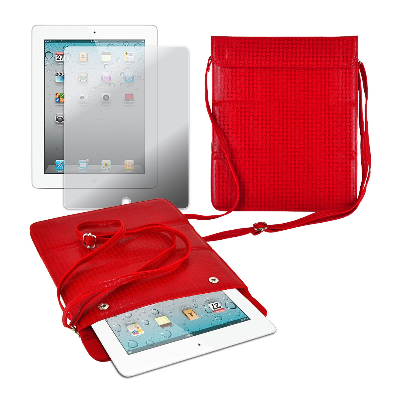 Premium Leatherette Shoulder Purse with Screen Protector for iPad 2 and iPad 3 - Thumbnail 0