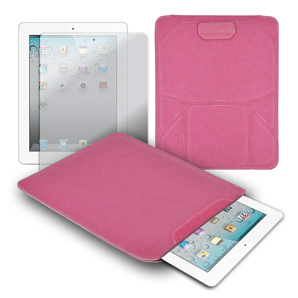 Premium Corduroy Carrying Sleeve with Screen Protector for Apple iPad 2 or iPad 3