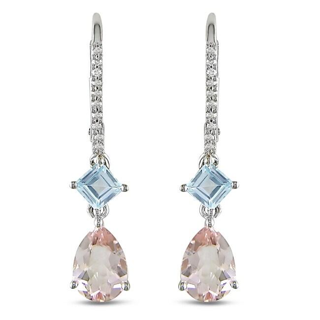 Miadora 10k White Gold 2 7/8ct TGW Multi-gemstone and Diamond Earrings