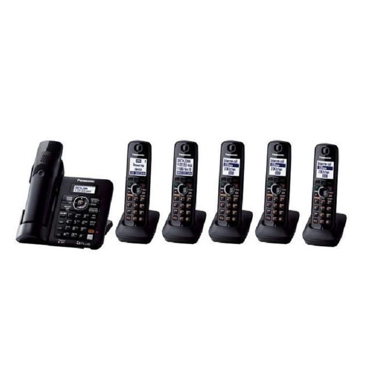 Panasonic KX-TG6646B DECT 6.0 Cordless Phone w/Digital Answering System/Black/Amplified/6 Handsets (Refurbished)