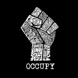 LA Pop Art Occupy Wall Street Men's Hoodie Fight The Power Fist - Thumbnail 1