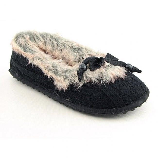 Rocket Dog Women's 'Shimmie' Black Cozy Knit Slippers