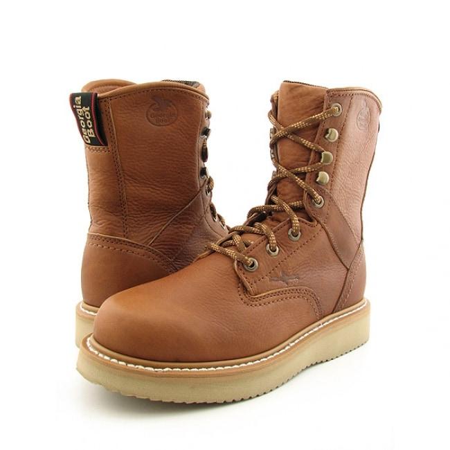 Georgia Men's 'Barracuda' 8-inch Wedge Brown Work Boots (Size 7.5)