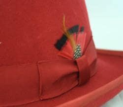 Ferrecci Men's Red Wool Godfather Hat - Thumbnail 2
