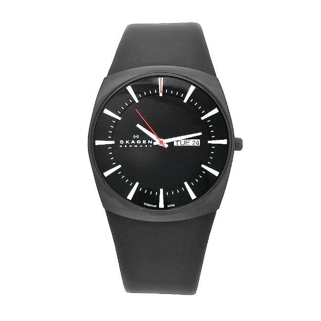 Skagen Men's Denmark Black Leather Black Dial Watch