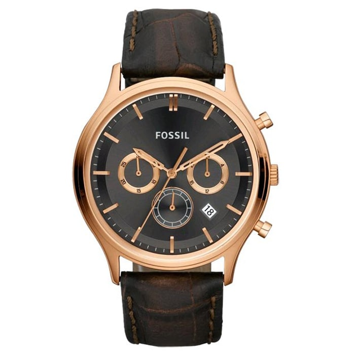 Fossil Men's 'Ansel' Leather Strap Chronograph Watch