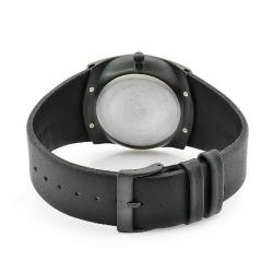 Skagen Men's Denmark Black Leather Black Dial Watch - Thumbnail 1
