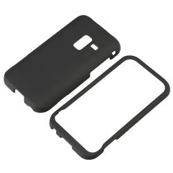 Black Rubber Coated Case/ Screen Protector for Samsung Conquer D600 4G - Thumbnail 1