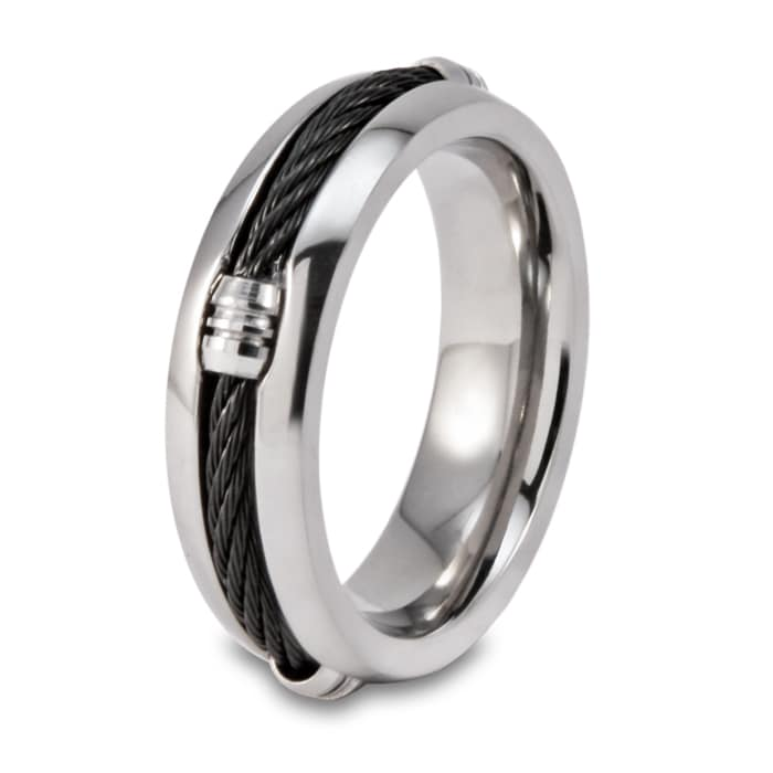 Men's Titanium Black Steel Cable Inset 6.7mm Ring