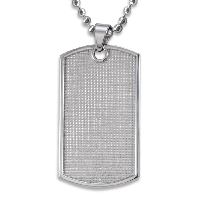 Stainless Steel Grid Pattern Ball Chain Dog Tag Necklace