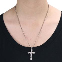 Steel Polished Floral Engraved-look Cross Necklace - Thumbnail 2