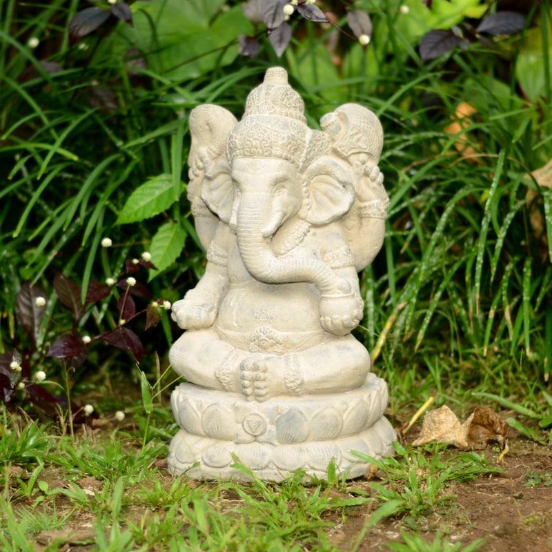 Handmade Large Stone Elephant Ganesha Statue (Indonesia),...