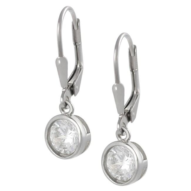 Journee Sterling Silver 6-mm Round-cut Cubic Zirconia Dangle Earrings