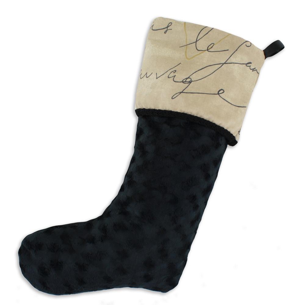 Vortex Black-penpal Parchment Lined Trimmed Holiday Stocking