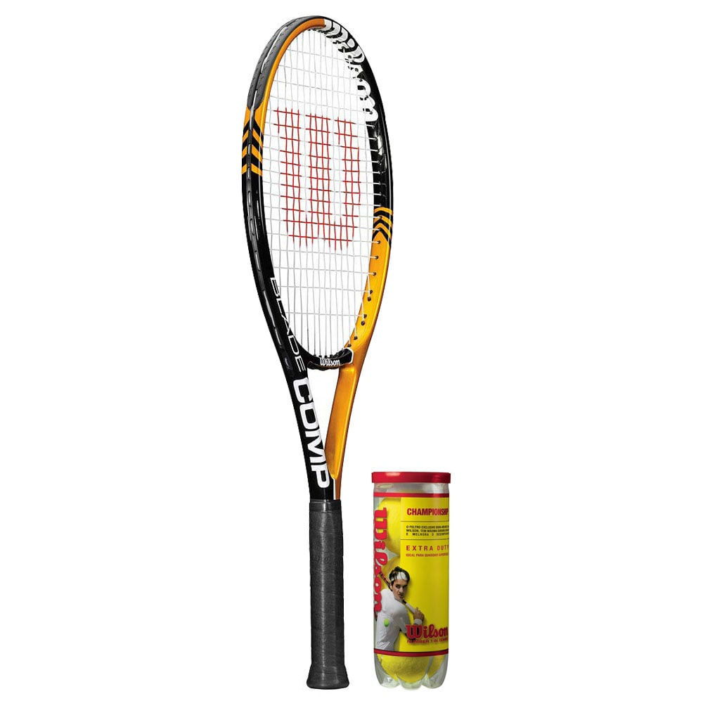 Wilson Blade Comp Yellow/Black Tennis Racquet and Tennis Balls Set