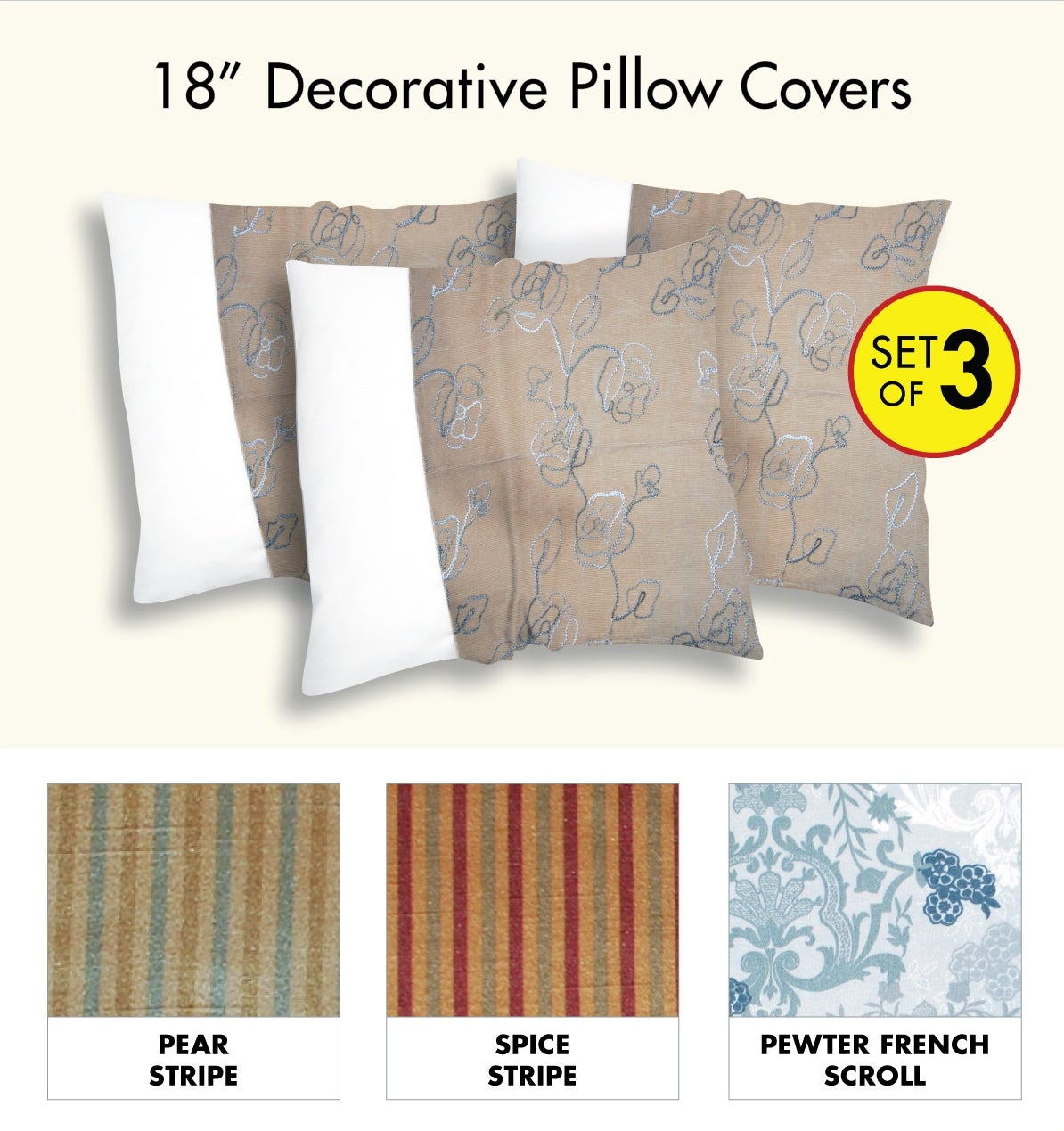 Decorative PIllow Cover (3 piece set)