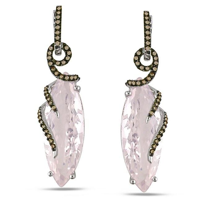 Miadora 14k White Gold Rose Quartz and 1/3ct TDW Diamond Earrings (15 1/2ct TGW)