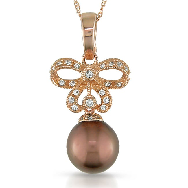 14k Pink Gold 1/6ct TDW Diamond Tahitian Pearl Necklace (G-H, SI2)