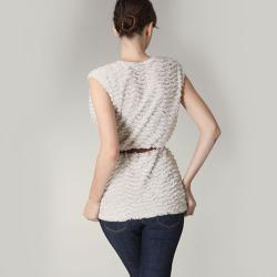 Tabeez Women's  Plush Belted Vest - Thumbnail 1