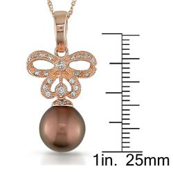 14k Pink Gold 1/6ct TDW Diamond Tahitian Pearl Necklace (G-H, SI2) - Thumbnail 2