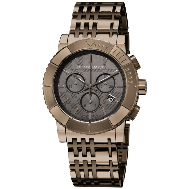 Burberry Men's 'Round Chronograph' Dark Nickel Plated Watch - Thumbnail 0