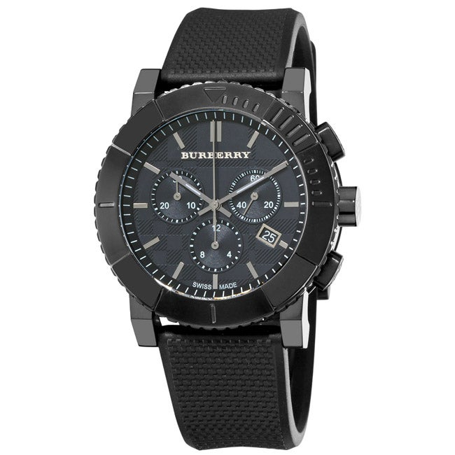 Burberry Men's 'Round Chronograph' Black Ion Plated Watch