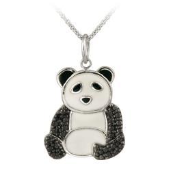 DB Designs Sterling Silver Black Diamond Accent Panda Bear Necklace