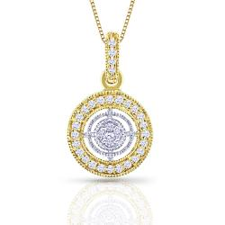 14k Two-Tone Gold 1/8ct TDW Diamond Circle Necklace (H-I, I1-I2)