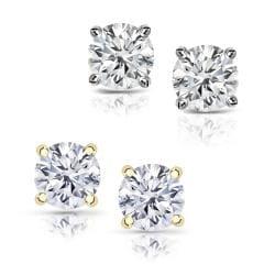 14k Gold 2/5ct TDW Round Diamond Hearts and Arrows Stud Earrings (E-F, VS1-VS2)
