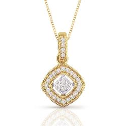 14k Two-Tone Gold 1/8ct TDW Diamond Necklace (H-I, I1-I2)