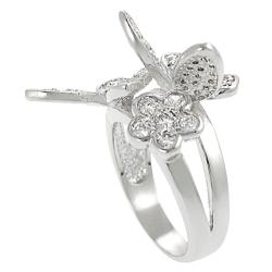 Silvertone Cubic Zirconia Butterfly and Flower Ring - Thumbnail 1