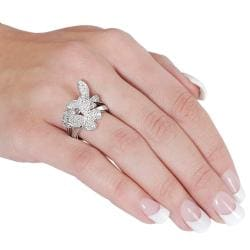 Silvertone Cubic Zirconia Butterfly and Flower Ring