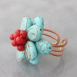 Copper Turquoise and Red Coral Flower Ring (Thailand) - Thumbnail 1