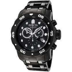 Invicta Men's 0076 'Pro Diver' Chronograph Black Stainless Steel Watch
