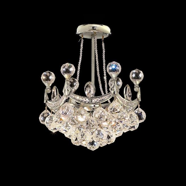 6 Light 14-inch Crystal Ball Semi Flush Mount Chandelier