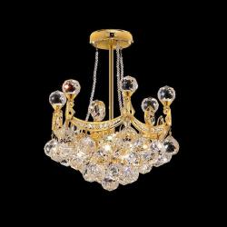 6 Light 14-inch Crystal Ball Semi Flush Mount Chandelier - Thumbnail 1