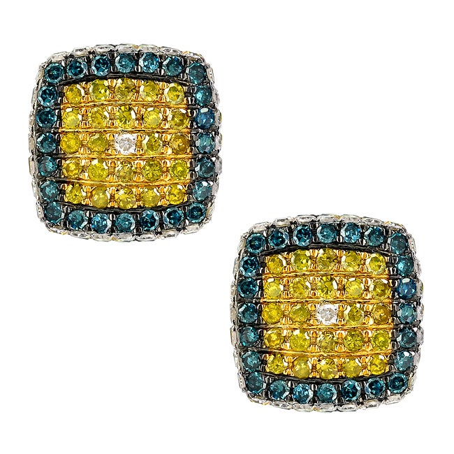 10k White Gold 1 4/5ct TDW Multi Colored Diamond Earrings (I1)
