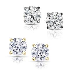 14k Gold 1 1/4ct TDW Round Diamond Hearts and Arrows Stud Earrings (J-K, SI1-SI2)