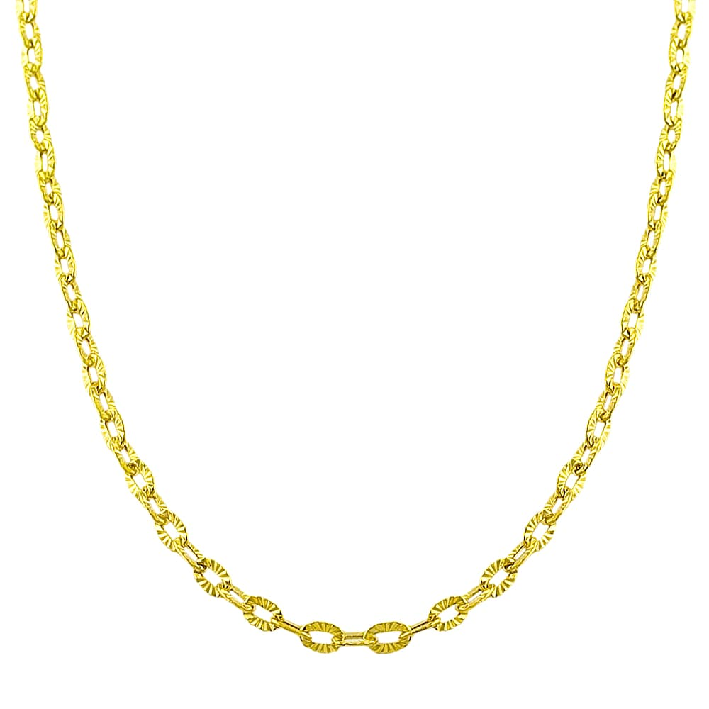 Fremada 14k Yellow Gold Diamond-cut 18-inch Flat Cable Link Necklace