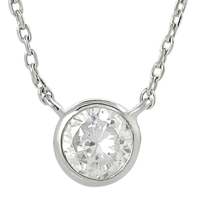 Silvertone Small Round-cut Cubic Zirconia Necklace